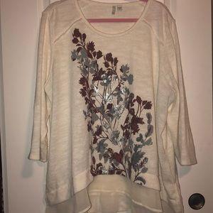 White Sweater w/ Blouse Bottom